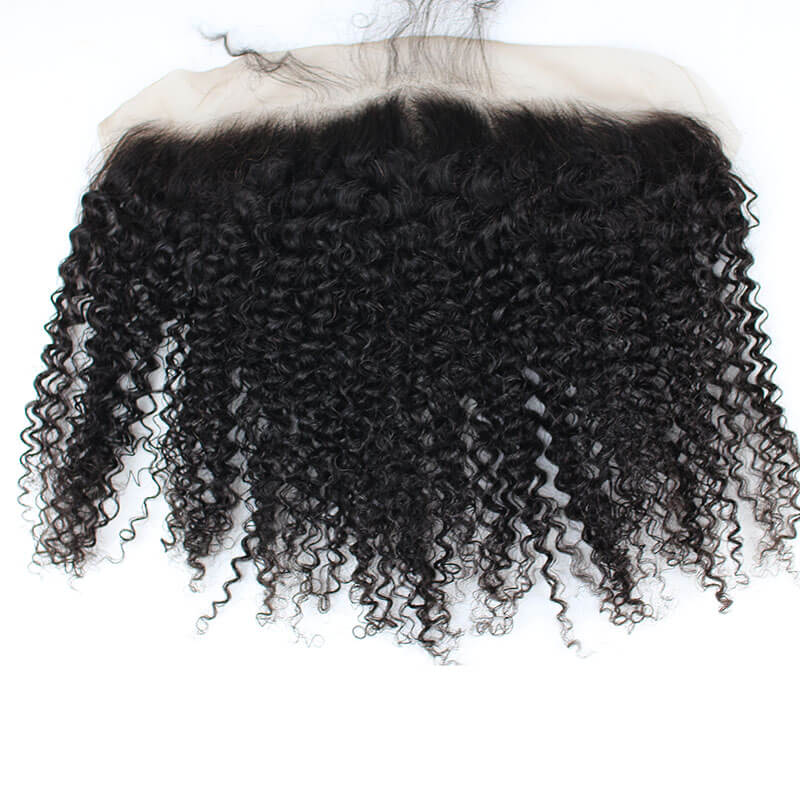 Kinky Curly Brazilian Human Hair Lace Frontal Swiss Lace 13X4 Bleached Knots with Natural Baby Hair Around Free Part Hair