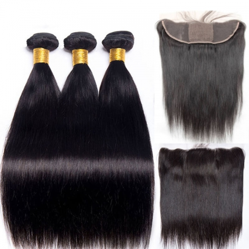 Silk Base Lace Frontal Bleached Knots with Hair Bundles  Brazilian Human Hair Natural Color
