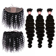 Deep Wave 13X4 Lace Frontal Clousre With Baby Hair Bleached Knots with 3 bundles Hair Extension  Human Hair