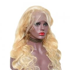 Human Hair Full Lace Wig 613 Color Lace Wigs Bleached Knots with Baby Hair Pre-Plucked Hair Line
