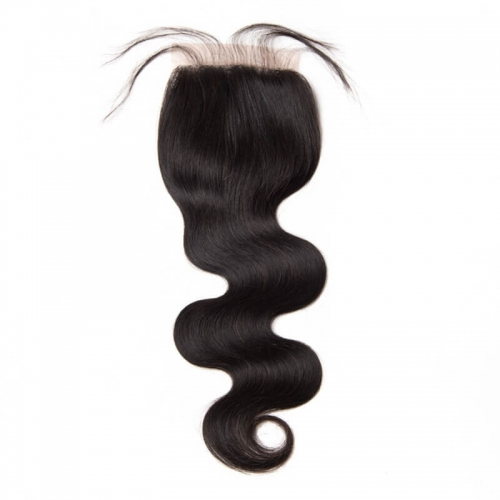 Human Hair Lace Closure Bleached Knots with Baby Hair Natural Color Brazilian Body Wave Hair