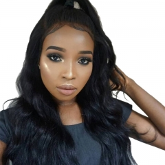 Affordable High Quality 100% Human Hair 360 Lace Frontal Wigs Natural Color Human Hair Bleached Knots Pre Plucked Hair Line