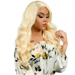 Free Part Color #613 Human Hair Lace Front Wig Body Wave Brazilian Hair Wigs Bleached Knots For Women
