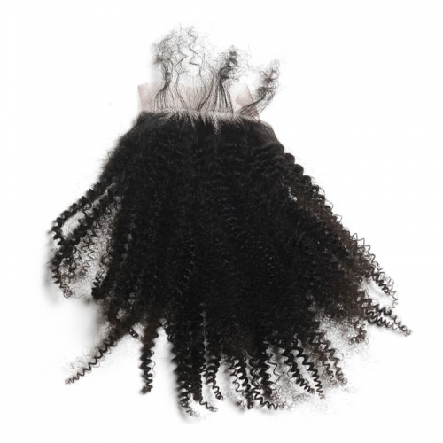 Natural Color Virgin Human Hair Silk Base Lace Cousre Afro Kinky Curly Closure Baby Hair Around