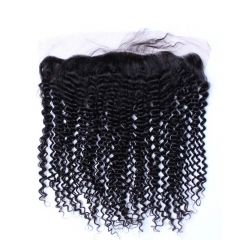 Silk Base 13x4 Lace Frontal With Baby Hair Natural Color Brazilian Kinky Curly Brazilian Human Hair