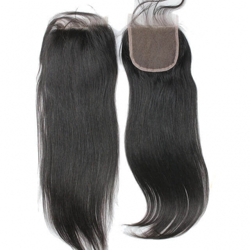 4x4 Swiss Lace Closure Brazilian Silky Straight Hair Natural Color Remy Hair 10-22Inch Closure With Baby Hair