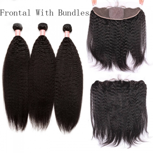 Kinky Straight Hair Bundles With Silk Base Lace Frontal Closure Base Size 4x4 Remy Human Hair