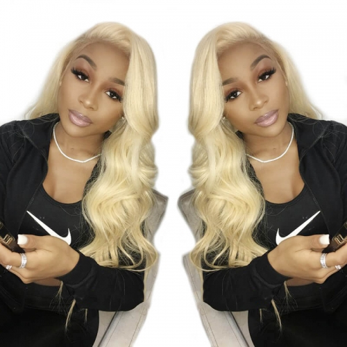 613 Blonde Full Lace Human Hair Wigs Brazilian Human Hair 130% Density Body Wave Wigs Pre plucked Bleached Knots
