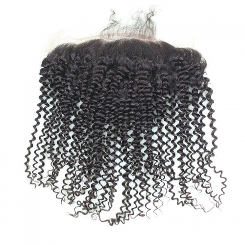 Lace Frontal Closure Human Hair 13X6 Free Part Kinky Curly Brazilian Natrual Color Hair Frontal With Natural Hair Line