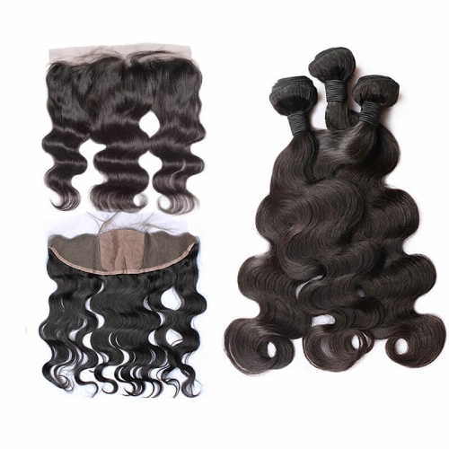Silk Base Body Wave Lace Frontal Closure Baby Hair Around Pre Plucked Hair Line with 3bundles Hair Natural Color Human Hair