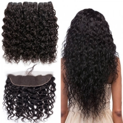 Brazilian Water Wave 3 Bundles With 13x4 Lace Frontal Closure Pre Plucked Hair Line Human Hair Bundles Natural Color Unprocessed Hair