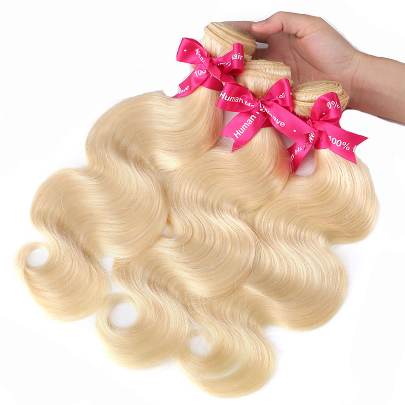 "Body Wave Blonde Remy Brazilian Hair Bundles 613 Color 8""-26""  Human Hair Weave"