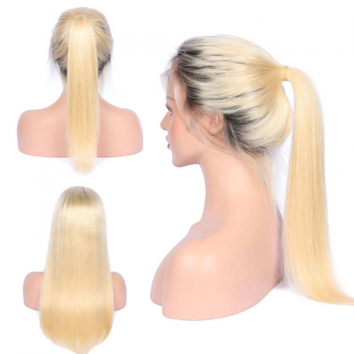 Free Part Ombre Color Lace Front Wig Bleached Knots with Baby Hair Silky Straight Brazilian Human Hair Wigs