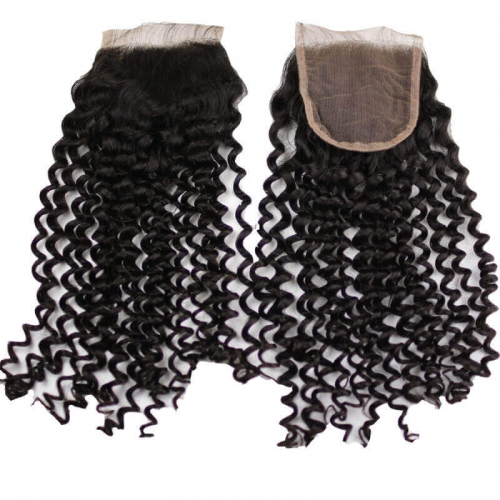 Curly Human Hair Swiss Lace Closure 4x4 120% Density 10-22 Inch Natural Black Remy Hair Bleached Knots Natural Baby Hair