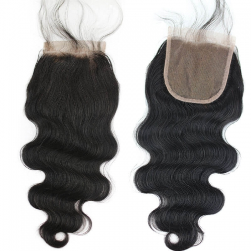 Free Part Natural Baby Hair 4x4 Natural Color Brazilian Hair Lace Top Closure Bleached Knots