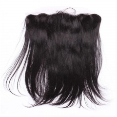 Human Hair Silky Straight 13X4 Silk Base Lace Frontal with Baby Hair Bleached Knots Base Size 4x4