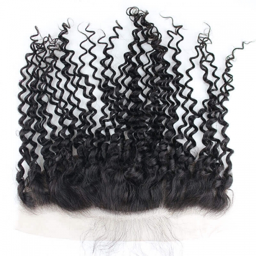 Pre- Plucked Natural Color Brazilian Curly Hair 13x4 Lace Frontal With 4x4 Silk Base  Natural Hairline With Baby Hair