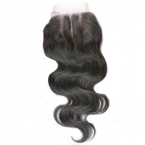 Three Part Body Wave Brazilian Hair  Lace Closure Pre Plucked With Natural Baby Hair Bleached Knots
