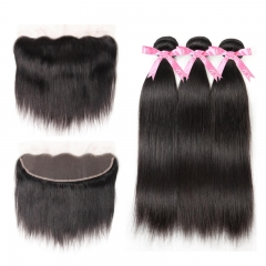 Brazilian Straight Hair Bundles With Frontal Closure 13x4 Human Hair Weave Unprocessed Human Hair Natural Color