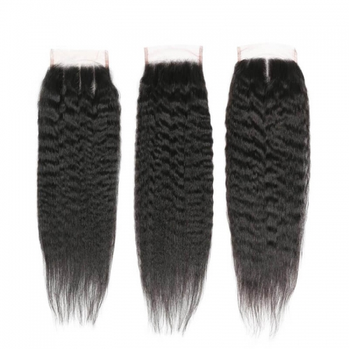 Brazilian Free/Three/Middle Part Hair Kinky Straight Human Hair Closure Remy 4x4 Lace Closures With Baby Hair