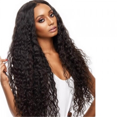 360 Deep Wave Lace Frontal Wigs 130% Density Virgin Human Hair Wigs for Black Women with Baby Hair Pre Plucked Natural Color