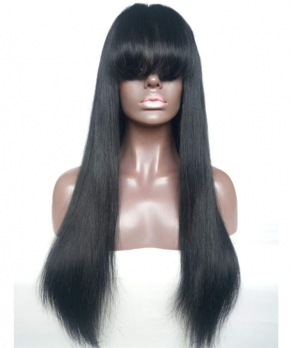 Glueless Silky Straight Lace Front Wig with Bangs Brazilian Virgin Human Hair Wigs for Women #1 Jet Black