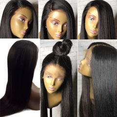 360 Human Hair Lace Wig Silky Straight 360 Lace Frontal Wig Pre Plucked with Baby Hair Brazilian Hair 360 Wigs for Black women 180% Density