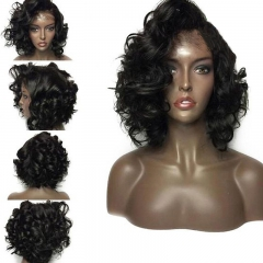 Short Curly Bob Wig Pre Plucked Hairline With Natural Baby Hair Brazilian Human Hair No Mixed Lightly Bleached Knots