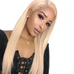 Silky Straight Human Hair Wig Blonde Color #613 Brazilian Hair Lace Wigs Bleached Knots with Natural Baby Hair Pre Plucked Hair Line Fast Shipping