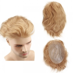 Men's Toupee Color #21 Men Hairpiece Real French Lace Human Hair Replacement for Men Wig Thin Skin
