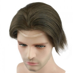 "Human Hair Toupee for Men 10""x8"" Color #6 with SOFT THIN Super Swiss lace and PU Around Fast Shipping"