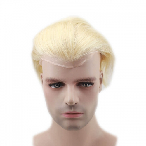 "Color #613 Base Size 8""X6"" Fench Lace Men Toupee For Men Bleached and tiny Knots Hair Replacement"