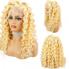 Color 613 Human Hair Lace Front Wigs Pre plucked With Baby Hair Deep Wave Blonde Wigs Remy Brazilian Huamn Hair