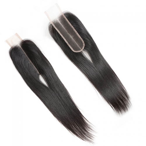 Human Hair Closure Brazilian Silky Straight Swiss Lace Closure Size 2x6 Closures Bleached Knots With Natural Baby Hair