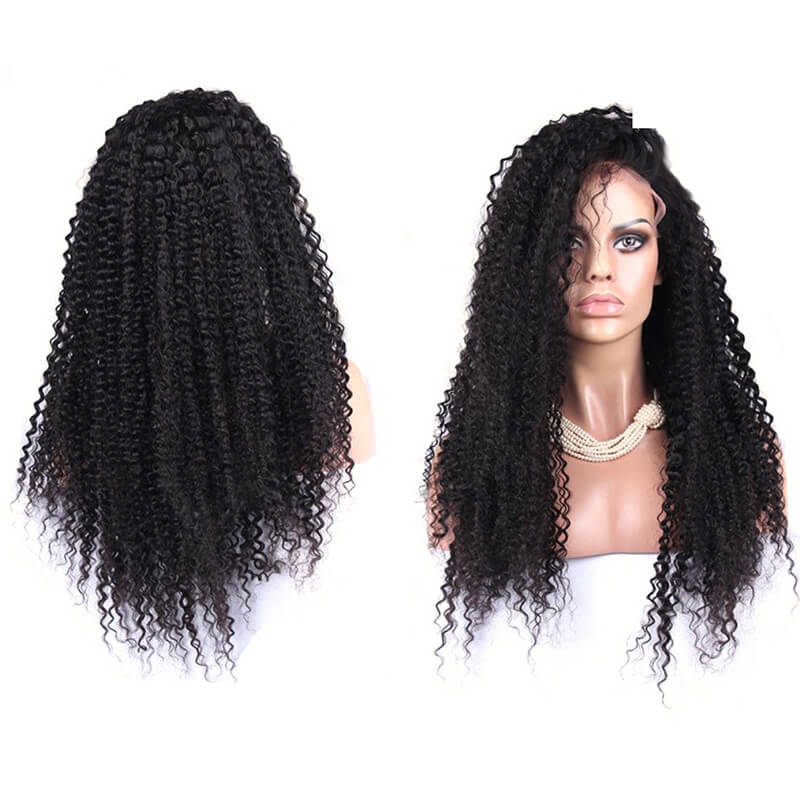 Afro Kinky Curly Human Hair Lace Front Brazilian Hair Wigs Pre Plucked Hair Line With Natural Baby Hair 250 High Density