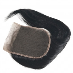 Size 5X5 Human Hair Lace Top Closure Natural Baby Hair Bleached Knots Natural Color Silky Straight Brazilian Hair