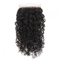 100 Brazilian Human Hair Water Wave 8-22 Inch 5*5 Swiss Lace Closure Natural Color Hair Full Density Baby Hair Around
