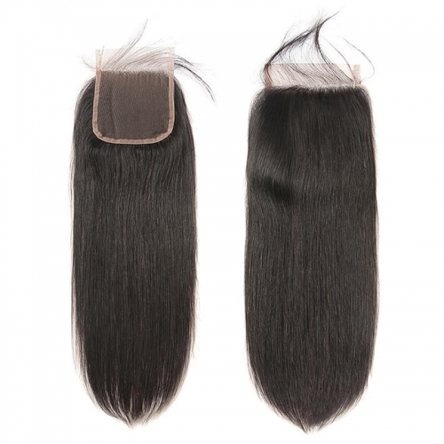 Malaysian Silky Straight 5*5 Lace Closure Middle/Free/Three Part Natural Color Lace Closure 8 To 22 Inches In Stock
