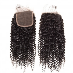 Curly Brazilian Black Human Hair Lace Top Closure Size 5x5 Swiss Lace Closures With Natural Baby Hair Bleached Knots