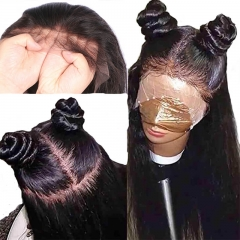 Silk Base 4X4 Full Lace Wig Pre Plucked Hair Line Natural Baby Hair Natural Black Silky Straight Brazilian Human Hair