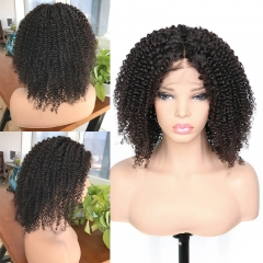 Middle Part Afro Kinky Curly Silk Base Lace Wigs Natural Color Hair Natural Baby Hair Around Pre Plucked