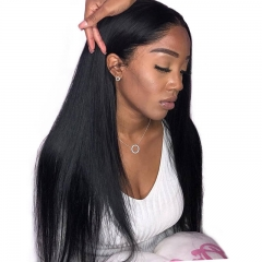 Silk Base Full Lace Wig Human Hair Straight Natural Black Brazilian Hair Wig Pre Plucked Hair Line Lightly Bleached Knots