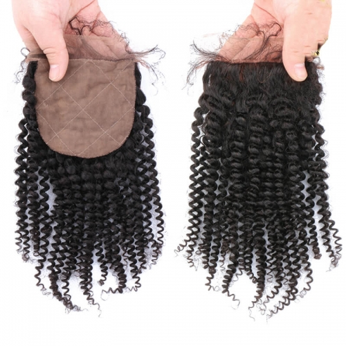 Curly Silk Base Swiss Lace Top Closures Natural Color Human Hair Closure with Natural Baby Hair Fast Shipping