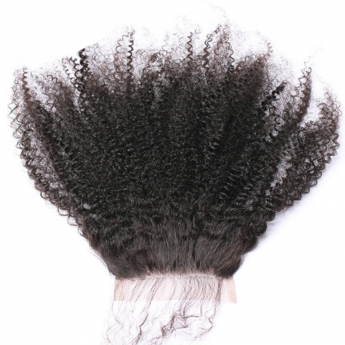 Malaysian Human Hair Natural Black Afro Kinky Curly Silk Base Closures Bleached Knots Lightlt With Baby Hair Size 4x4