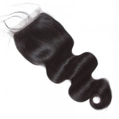 Human Hair Silk Base Lace Closure Size 4x4 With Natural Baby Hair Around 100 Brazilian Body Wave Hair