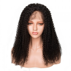 Afro Kinky Curly Human Hair Silk Base Full Lace Wigs Natural Color Brazilian Hair Baby Hair Around Pre Plucke Hair Line For Black Women