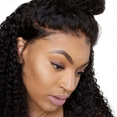 Curly Full Lace Wigs Human Hair size 4X4 Silk Base Top Wig With Baby Hair Pre Plucked Hair Line Curly Malaysian Hair Can Be Dyed