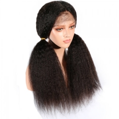 Silk Base Glueless Full Lace Wigs Natural Black Kinky Straight Brazilian Hair Wig Full Density Pre Plucked Hair Line