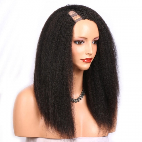 U Part Wigs For Black Women Kinky Straight Human Hair Open Size 1x4 Wigs with Straps Side Part