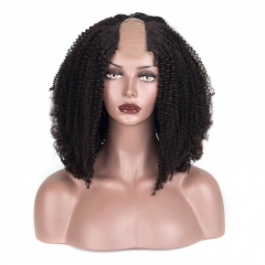 Human Hair U Part Wig With Lace Afro Kinky Curly Natural Color Brazilian Hair Wigs For BlacK Women